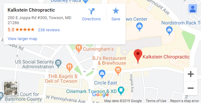 Map of Towson Chiropractors